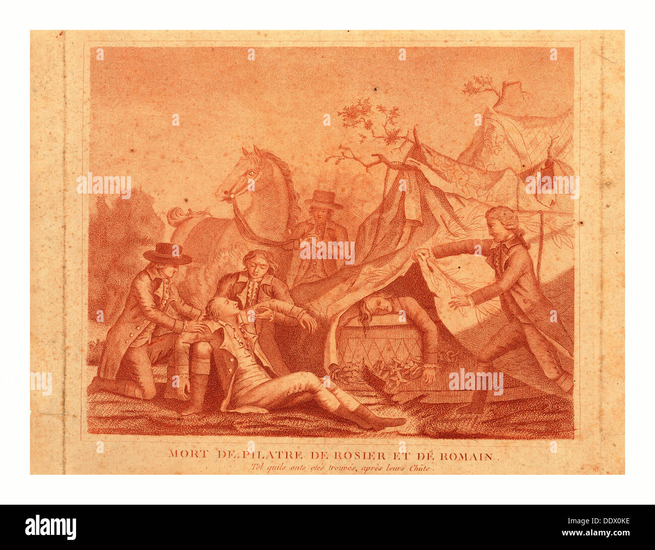 Print shows the death of balloonists Jean-François Pilatre de Rozier and Jules Romain when their Royal Balloon crashed - Stock Image