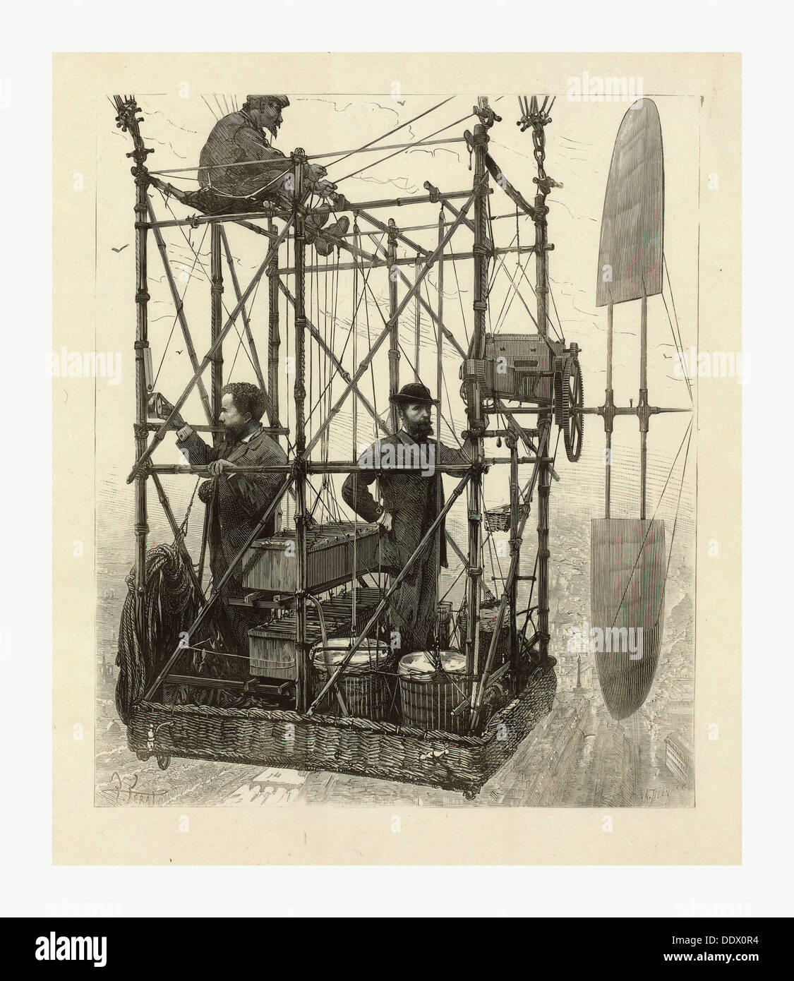 Albert Tissandier (left), Gaston Tissandier (right), and an unidentified man in the basket of their airship - Stock Image
