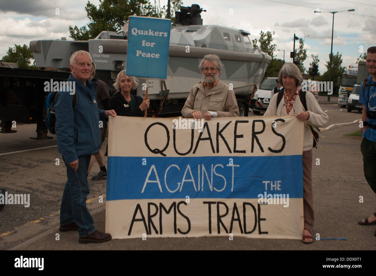 London, UK. 8th Sep, 2013. Quakers against the Arms Trade at protest against the Defence Security and Equipment Stock Photo