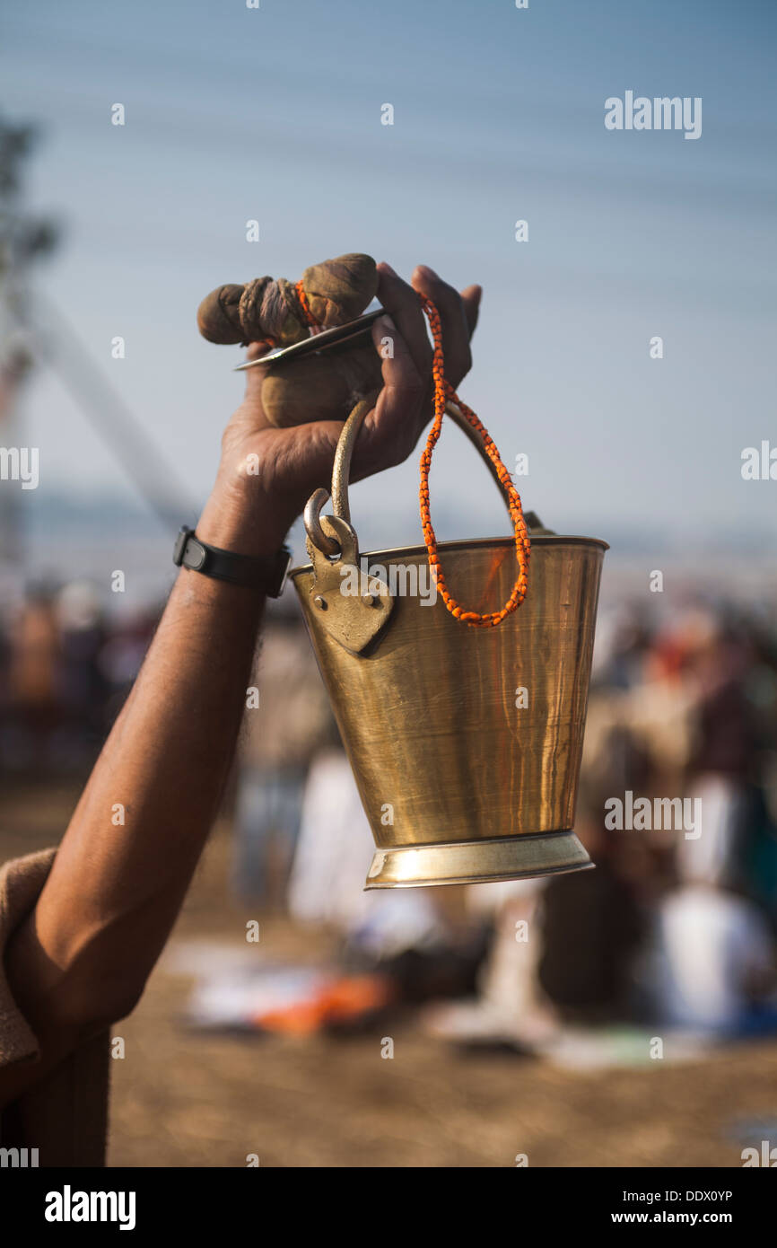 Vendor selling food and spices at Kumbh Mela 2013, India - Stock Image