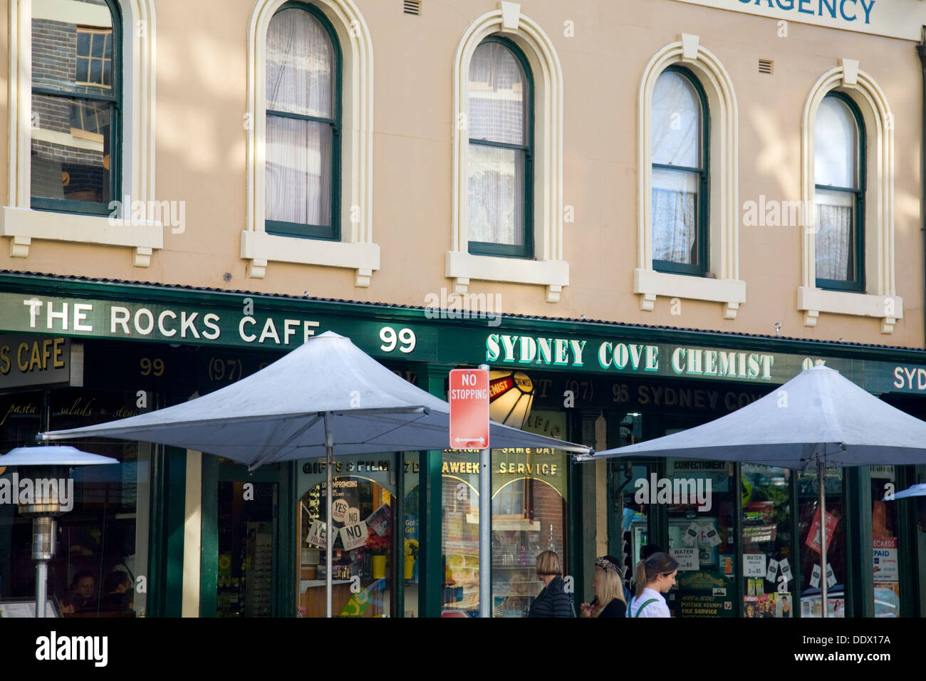 rocks cafe and sydney cove chemist in george street, the rocks,sydney - Stock Image