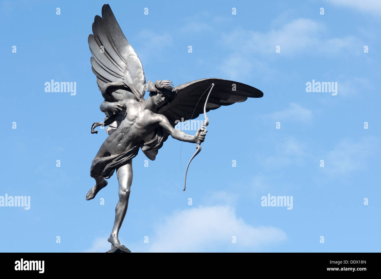 England, London, Piccadilly Circus, Shaftesbury Memorial Fountain, Eros Statue by Sir Alfred Gilbert - Stock Image