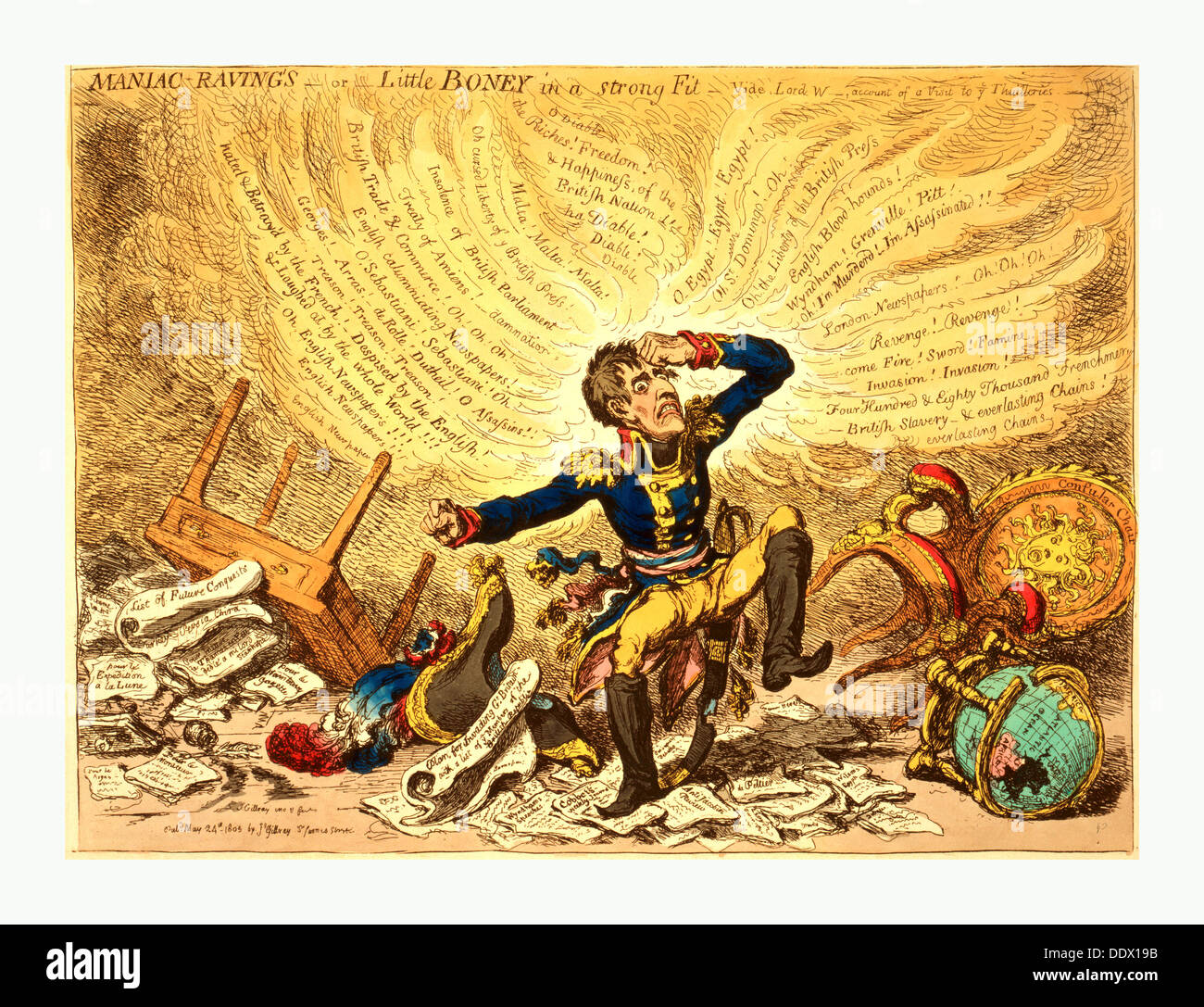 Maniac-raving's or Little Boney in a strong fit, Gillray, James, 1756-1815, engraver, London, 1803,  Napoleon in a fury - Stock Image
