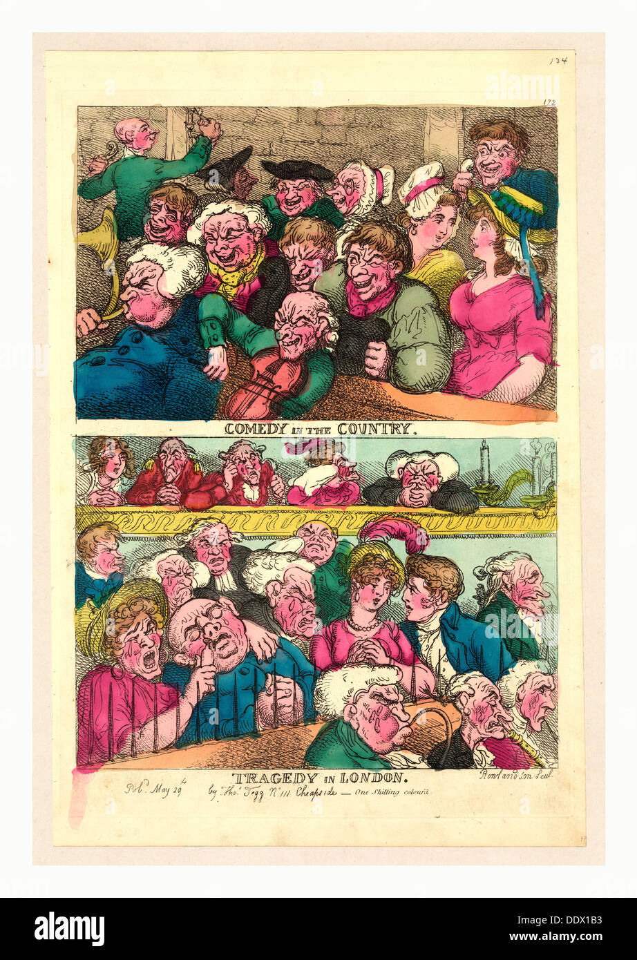 Comedy in the country. Tragedy in London, Rowlandson, Thomas, 1756-1827, engraving 1807, two designs on one plate - Stock Image