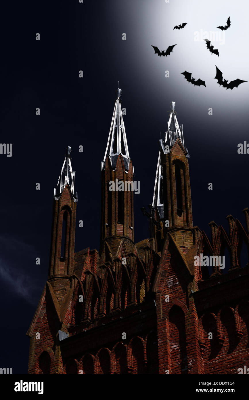 halloween card with church and bats at night