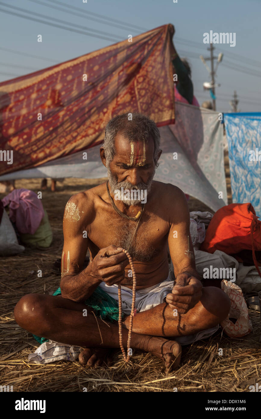 Naga Sadhu - The Great Renounce in their ashram resting and meditating at Kumbh Mela 2013, India - Stock Image