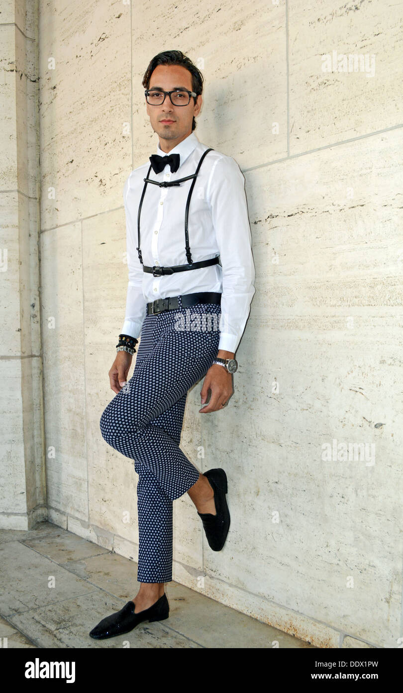 Portrait of producer Noe Lozano wearing unusual suspenders at Fashion Week at Lincoln Center in New York City - Stock Image