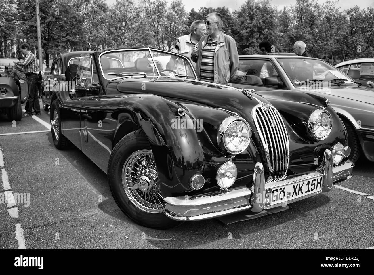 Sport Car Jaguar XK140 Roadster, (black And White)   Stock Image