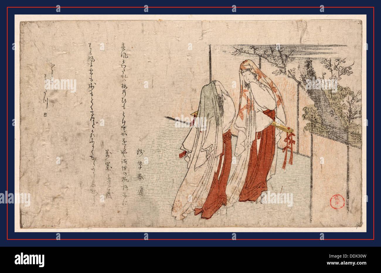 Katsugi no futari no onna, Two women wearing cloaks as veils. 1806., 1 print : woodcut, color ; 12.7 x 20.9 - Stock Image