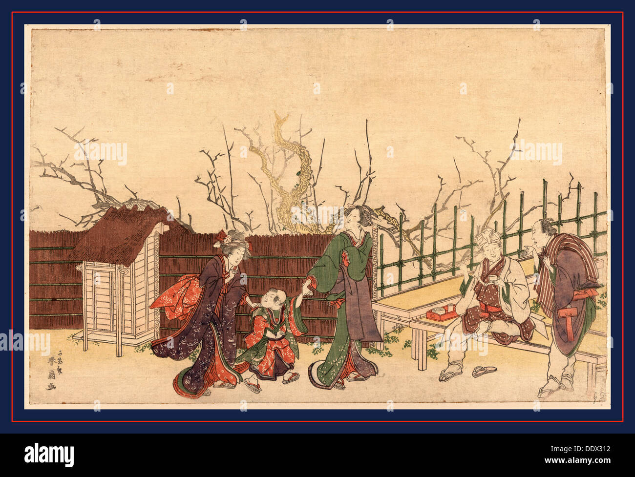 Kameido umeyashiki, A villa in Kamedo. [181-], 1 print : woodcut, color ; 24.7 x 37.8 cm., Print shows two men and two women - Stock Image