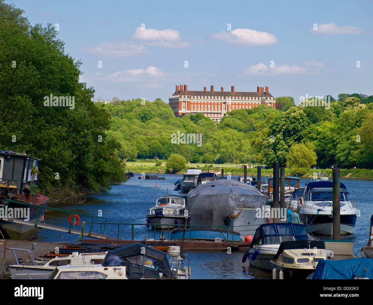 Star and Garter Home for Ex-servicemen on Richmond Hill. From the River Thames at Twickenham. - Stock Image