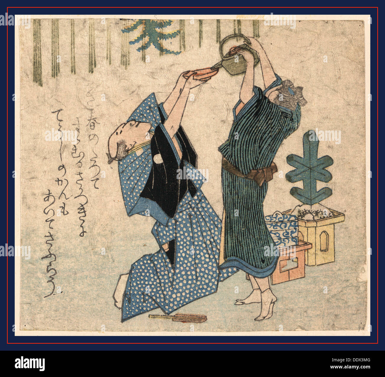Giga shinnen no iwai, Comic celebration of the New Year. Print shows a man kneeling, holding a saucer overhead with - Stock Image