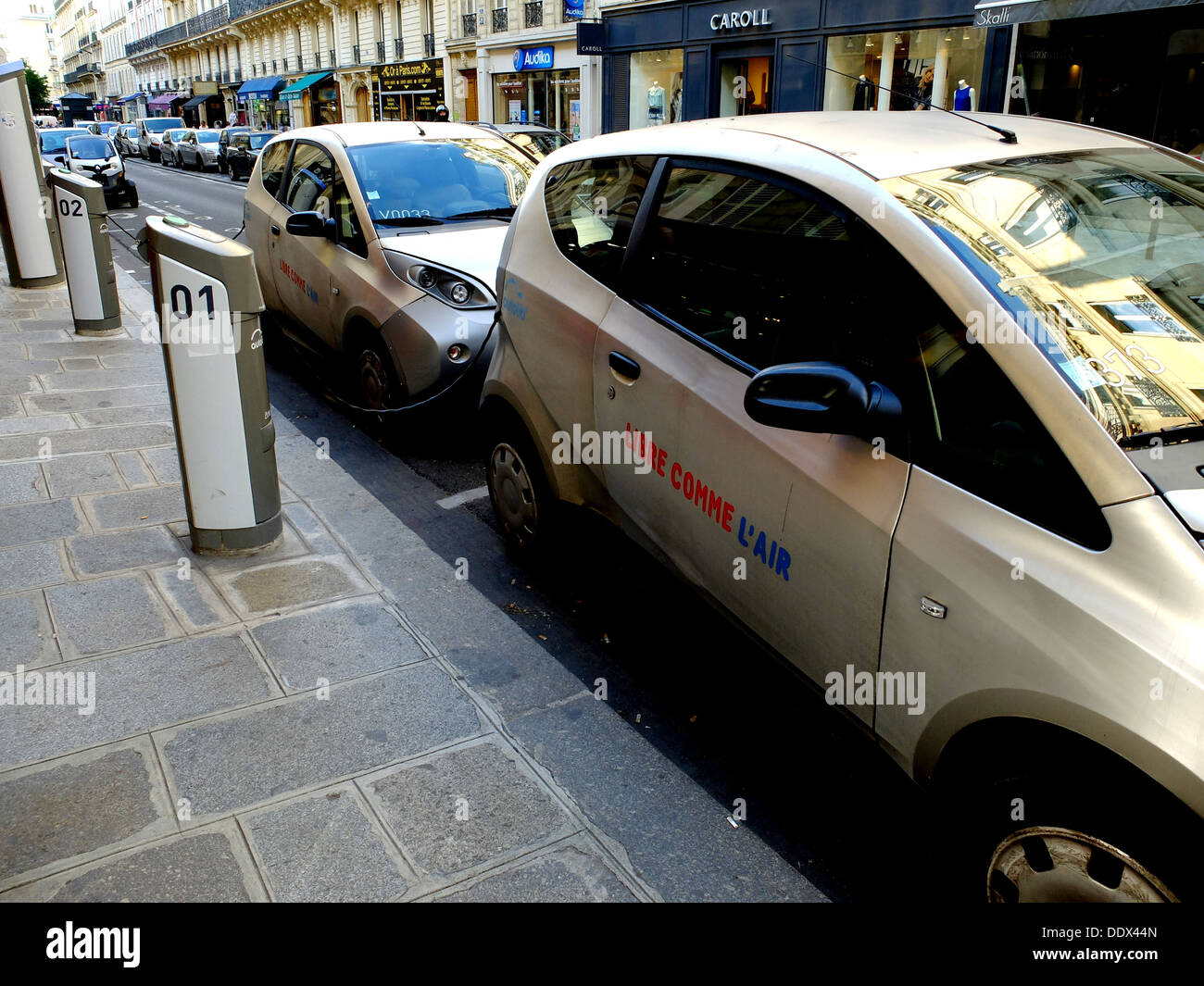Autolib,electric car recharge at the base in the street, Paris, France, Europe - Stock Image