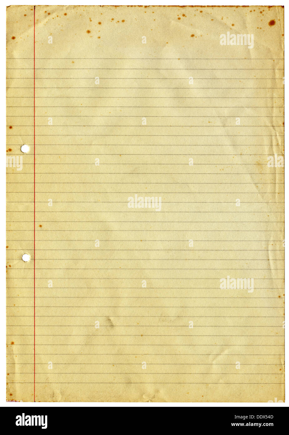 Blank lined vintage A4 paper isolated on a white background Stock ...