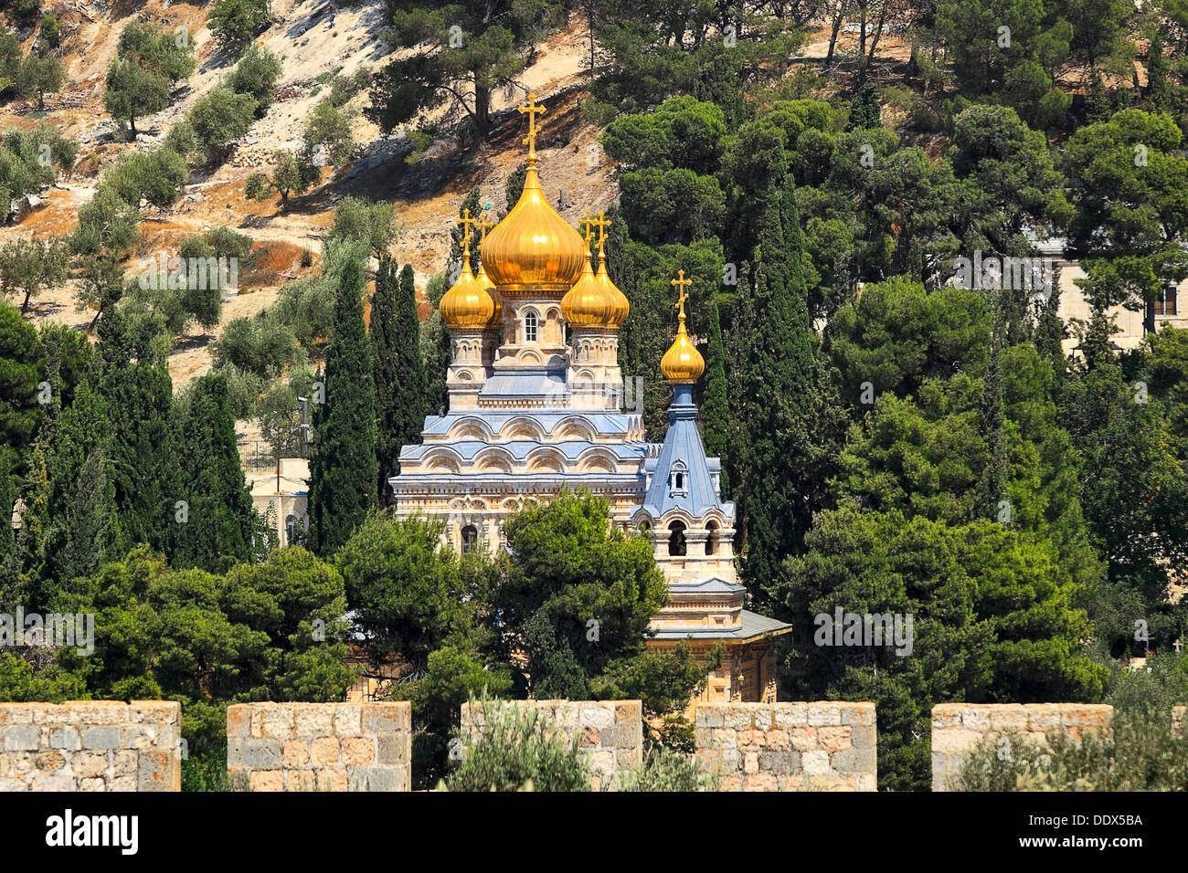 Church of Mary Magdalene located on Mount of Olives in Jerusalem, Israel. - Stock Image