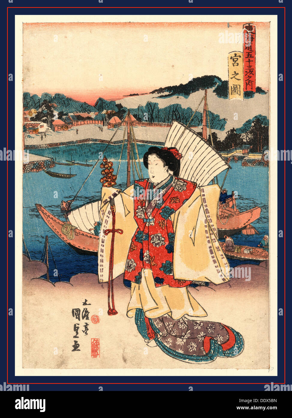 Miya no zu, View of Miya. [between 1835 and 1838], 1 print : woodcut, color ; 24.6 x 17.6 cm., Print shows a woman standing on - Stock Image
