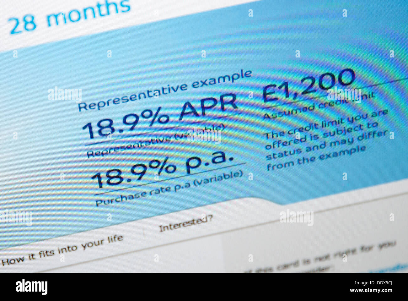 website with interest rates 18.9% online loans - Stock Image