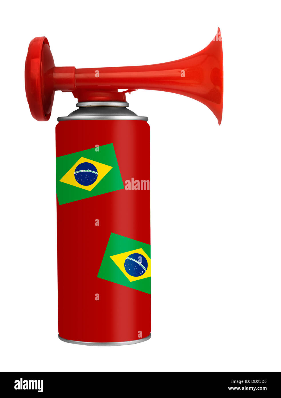 Brazil football soccer air horn - Stock Image