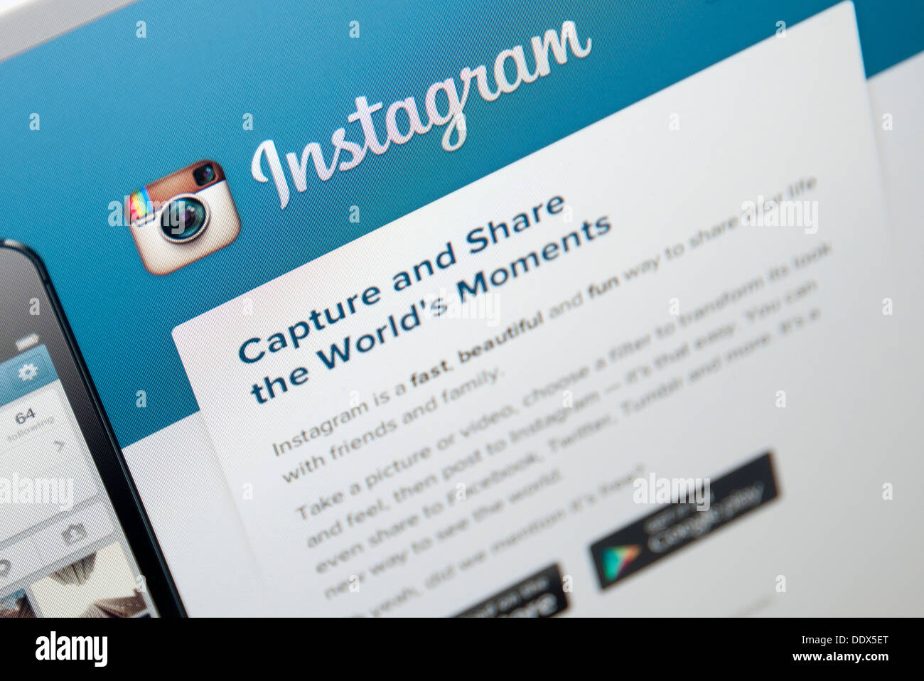 instagram web page - Stock Image