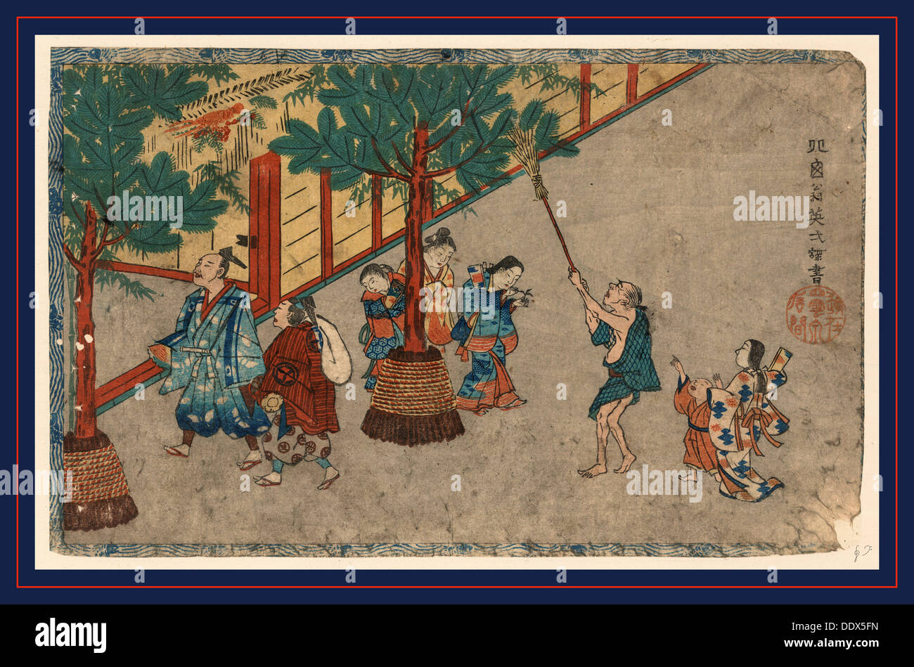 Mutsuki, January. [between 1830 and 1844], 1 print : woodcut, color ; 21.9 x 35 cm., Print shows several people outside the - Stock Image