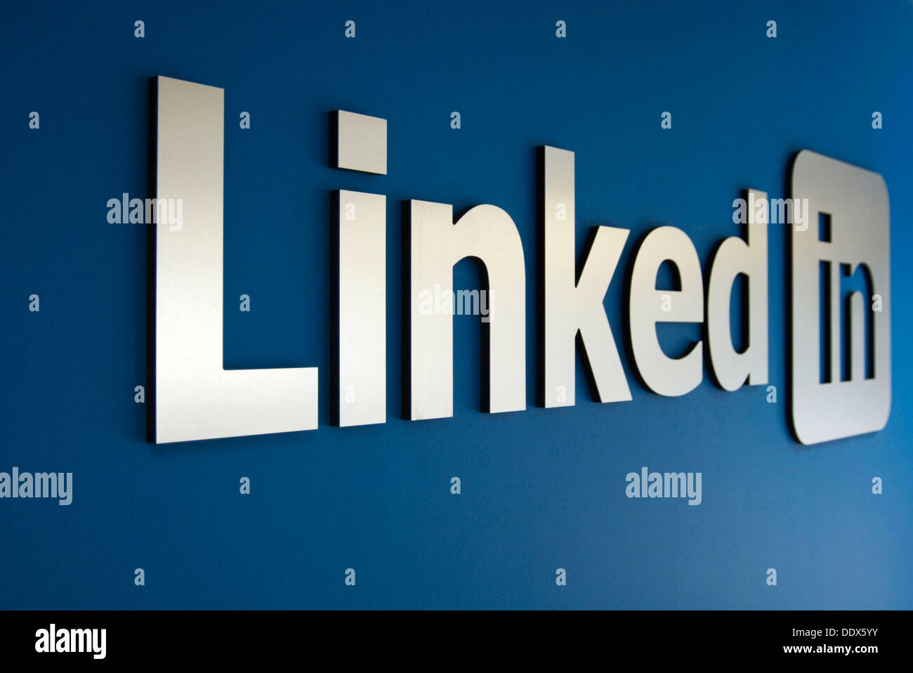 Linked In logo on a wall - Stock Image