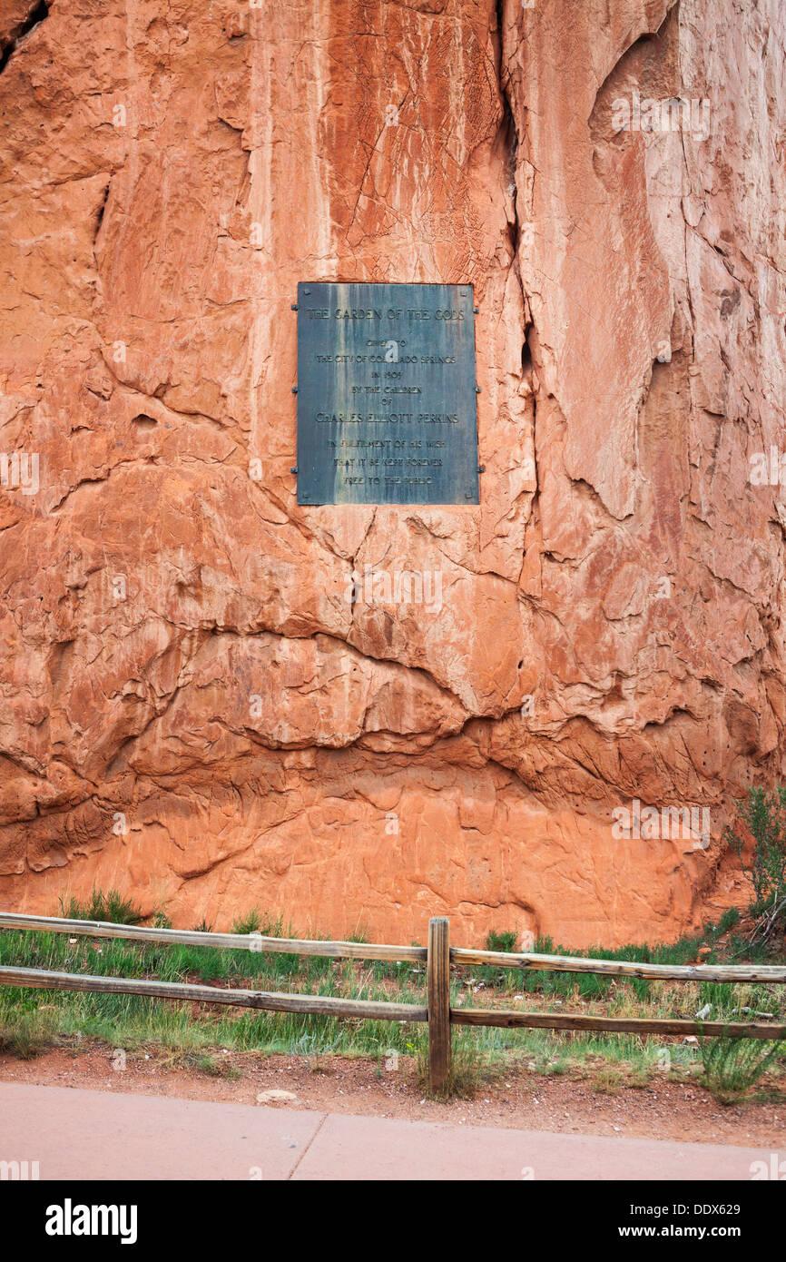 Dedication plaque at Garden of the Gods, Colorado Springs, Colorado - Stock Image