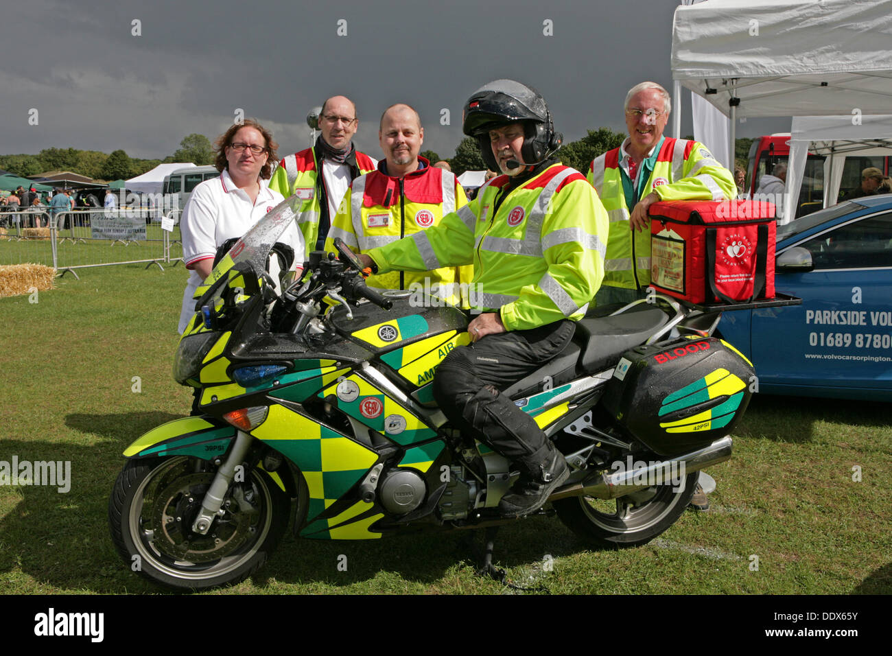 Orpington, UK. 8th Sep, 2013. The Blood transfusion service staff with their motorcycle attend Harris Hospiscare Classic Car show Credit: Keith Larby/Alamy Live News - Stock Image