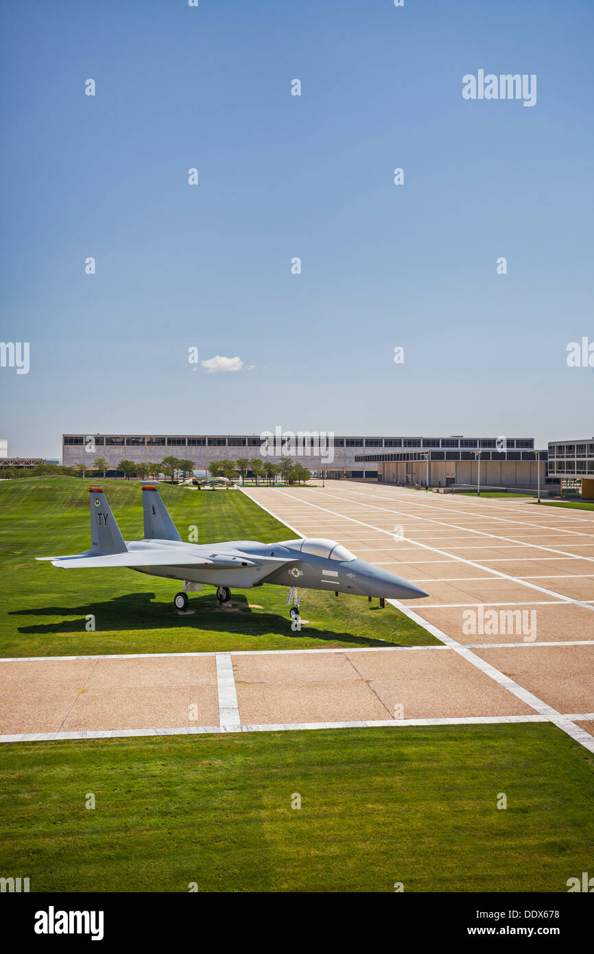 Fighter jet on grounds of the United States Air Force Academy, Colorado Springs, Colorado - Stock Image
