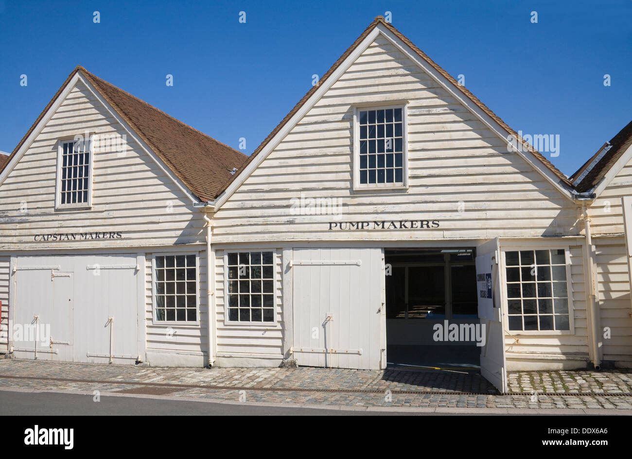 Historic Dockyard Chatham Kent Preserved Capstan and Pump Makers workshops in this maritime museum - Stock Image