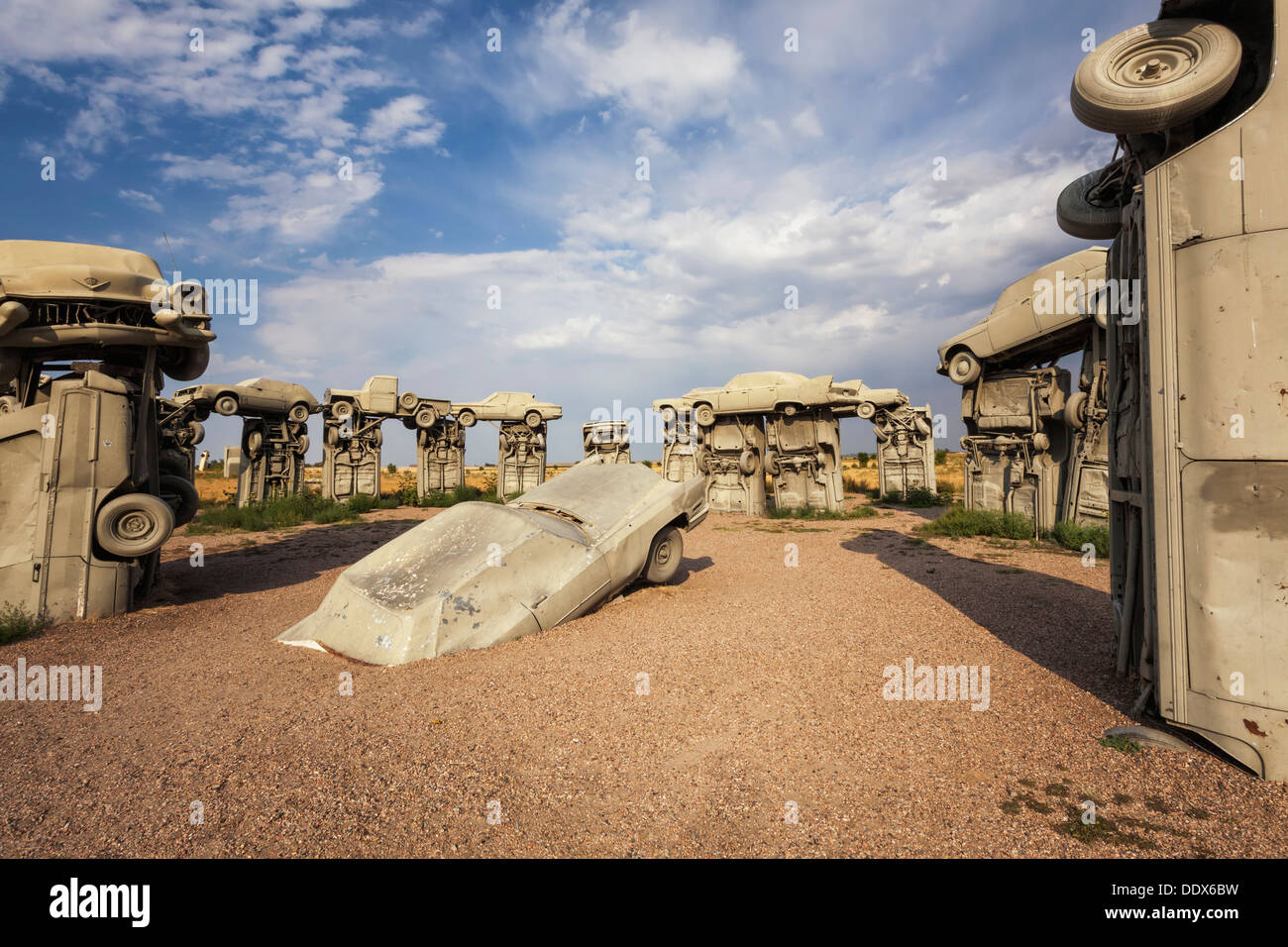 Cars arranged to replicate Stonehenge in England is called Carhenge, Alliance, Nebraska - Stock Image
