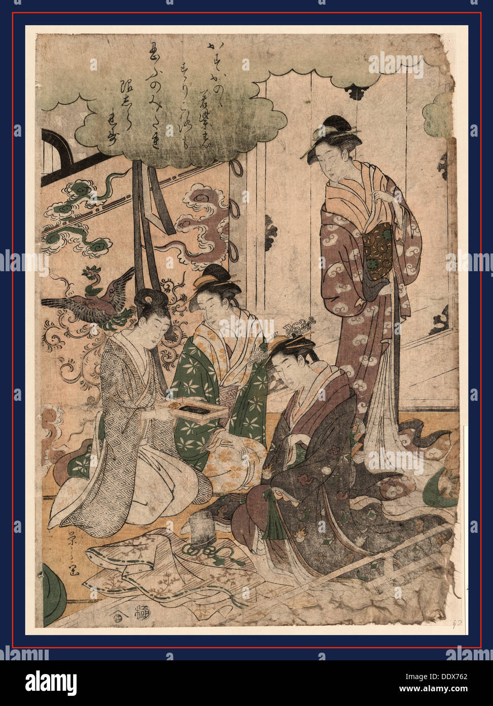 Ise monogatari, Tale of Ise. [between 1789 and 1795], 1 print : woodcut, color ; 35.4 x 25 cm., Print shows three women, two - Stock Image