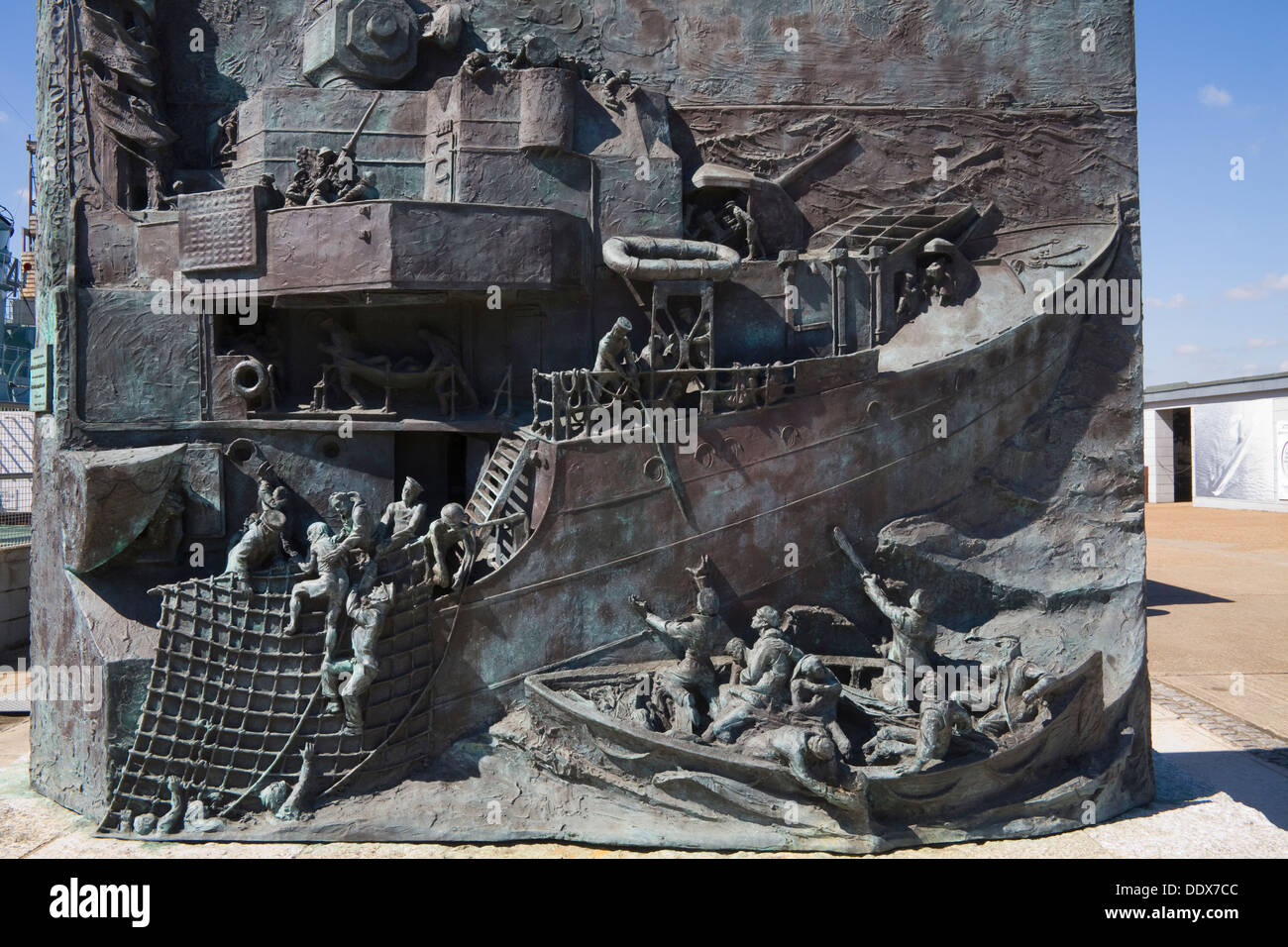 Historic Dockyard Chatham Kent Destroyer Memorial by sculptor Kenneth Potts unveiled 2007 - Stock Image