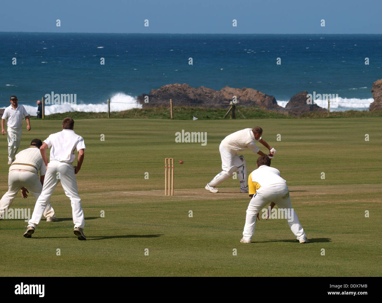 Batsman being bowled out, Amateur Cricket match, Bude, Cornwall, UK 2013 Stock Photo