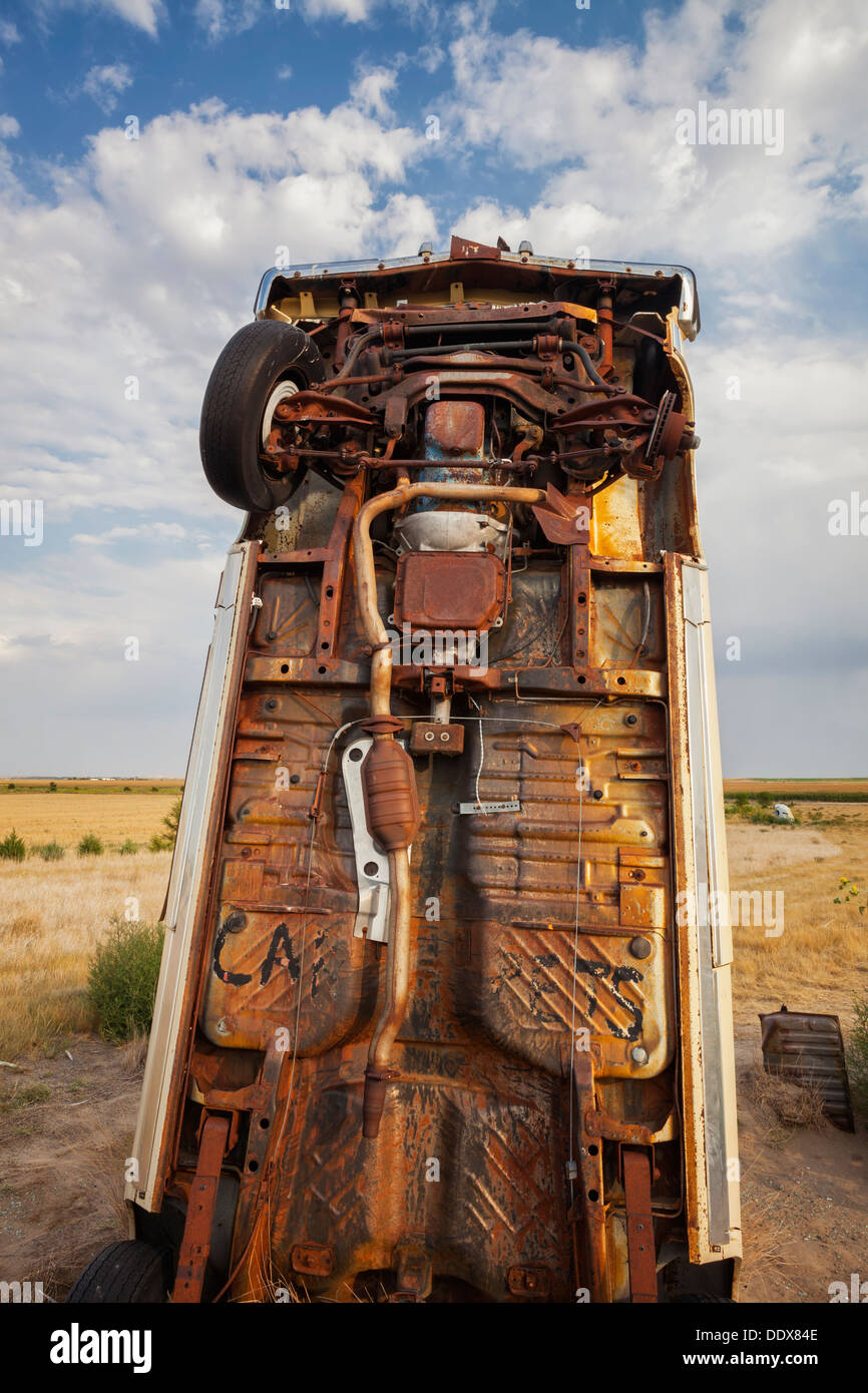 Cars planted in ground at Carhenge in Alliance, Nebraska - Stock Image