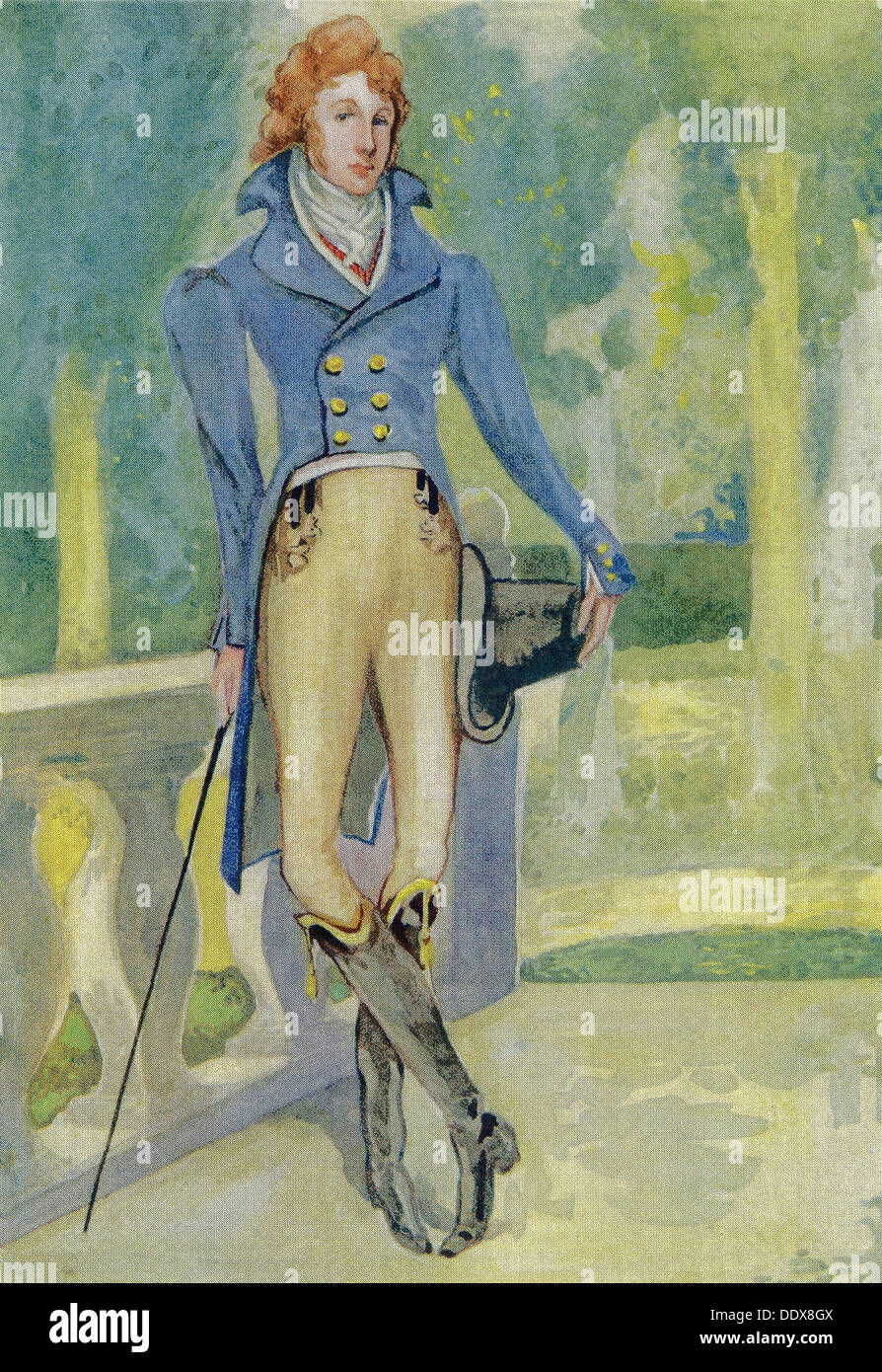 An English man in the time of George IV (1820–1830) with a coat  being worn in early 1900s slightly altered, in evening dress. - Stock Image