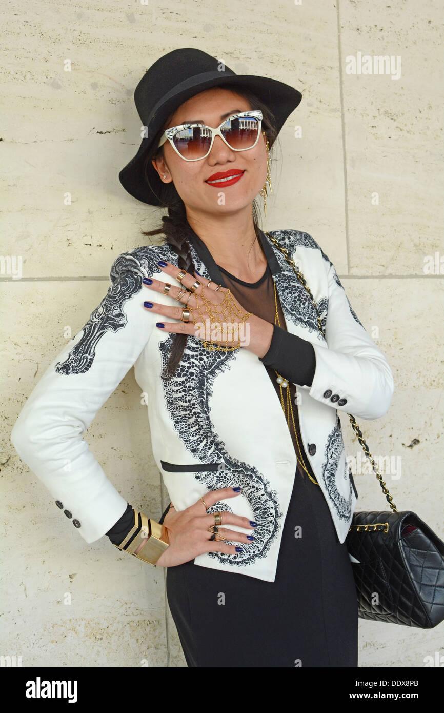 Portrait of handbag jewelry designer Karen Ko at Fashion Week at Lincoln Center in New York City - Stock Image