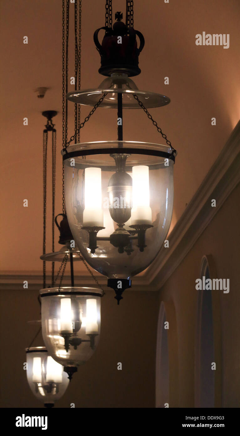 3 large pendant lights hanging from the ceiling of Somerset House Stock Photo
