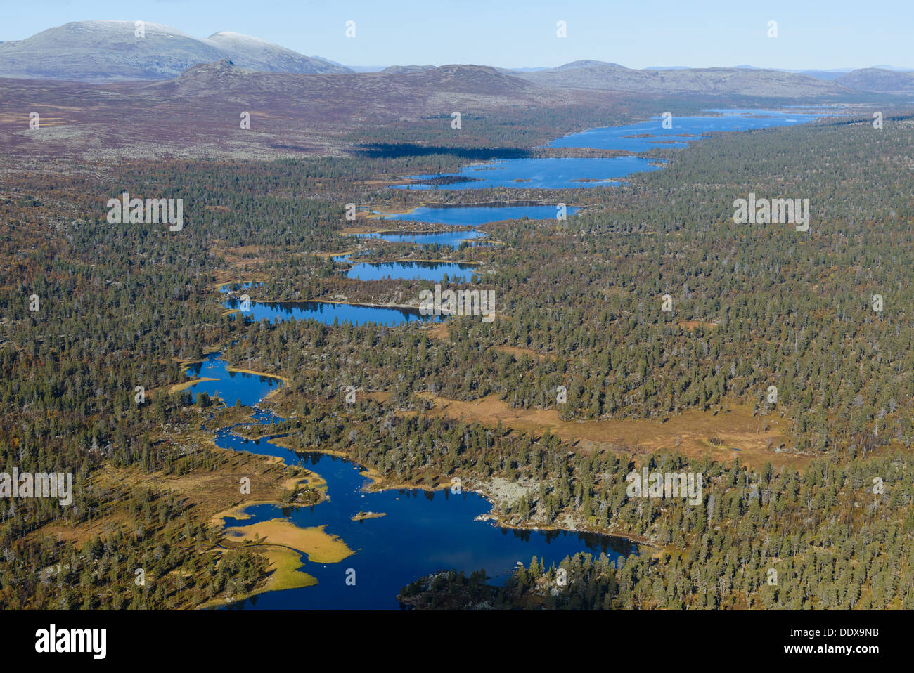 Aerial view of forests and lakes, Hävlingen, Dalarna, Sweden - Stock Image