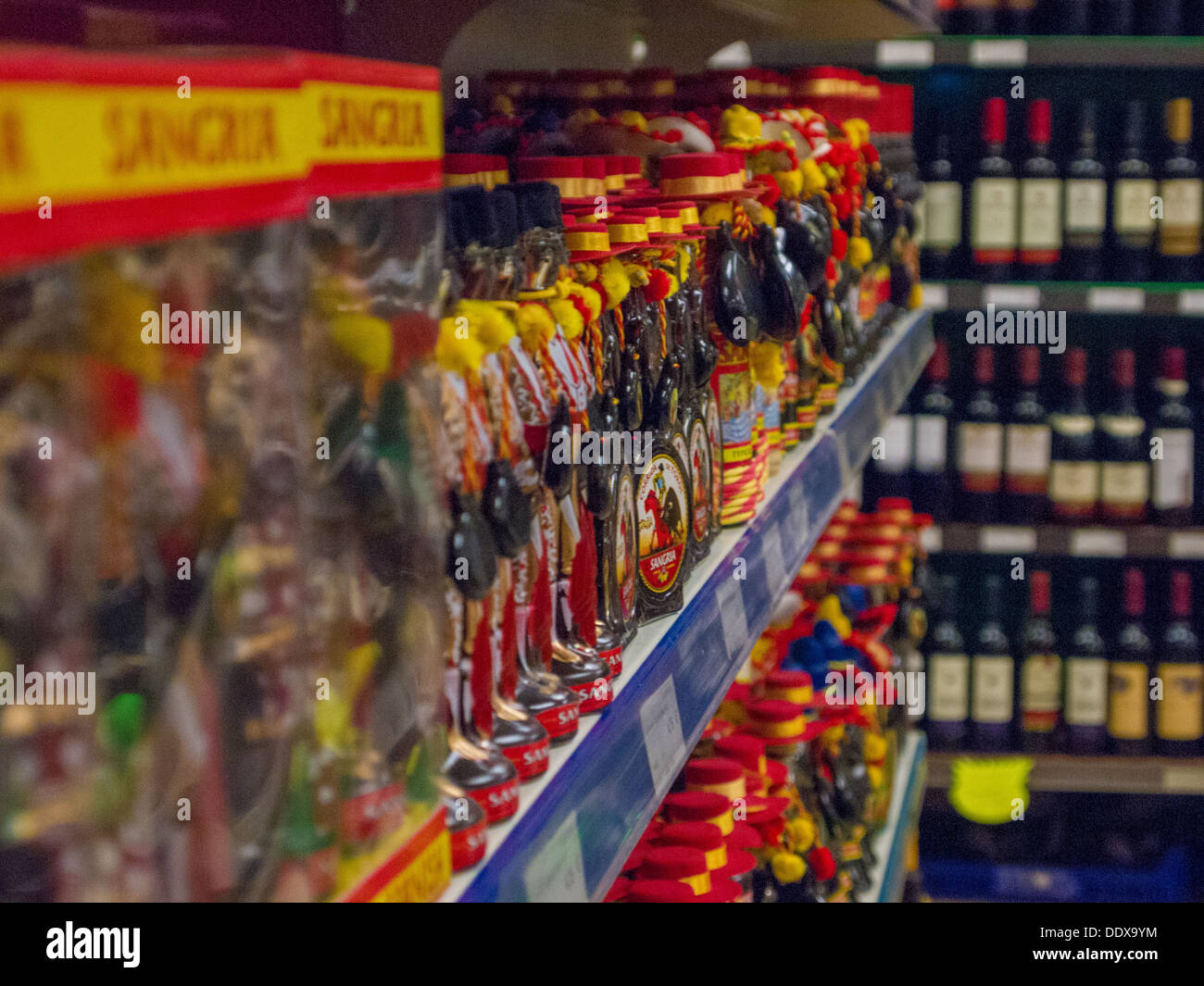 Misc Sangria products in a shelf in Spain - Stock Image