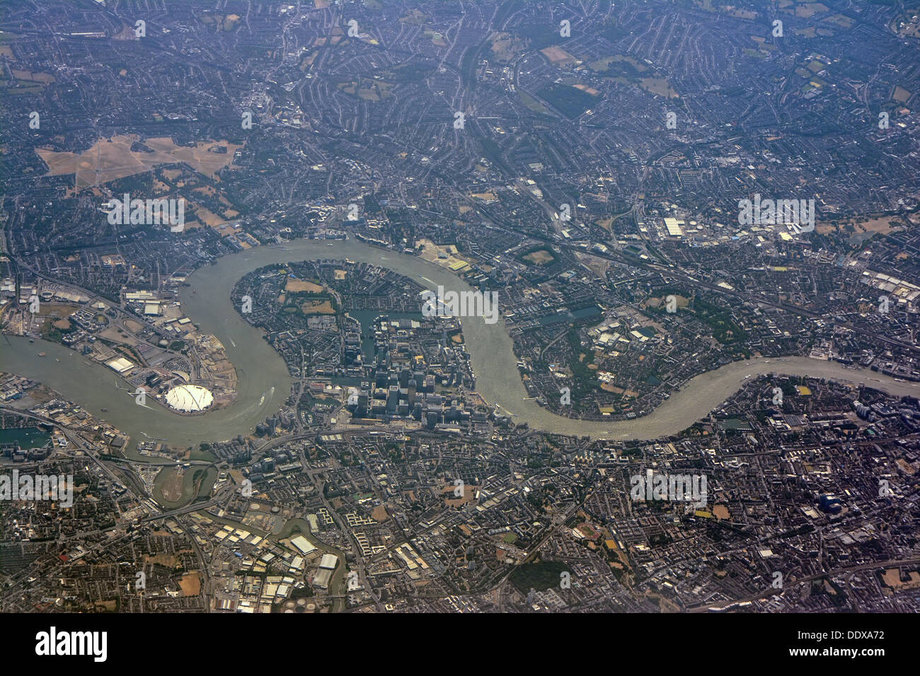 London Thames river, Aerial Stock Photo