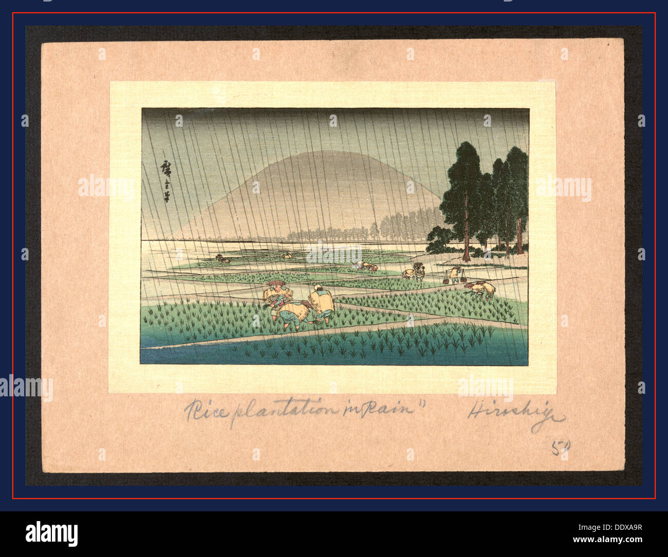 [Fukeiga], [Rice planting in rain]. [between 1900 and 1940, from an earlier print], 1 print : woodcut, color., Print shows - Stock Image