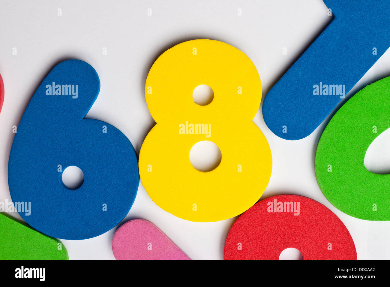 The number 8 in a group of ascending numbers Stock Photo