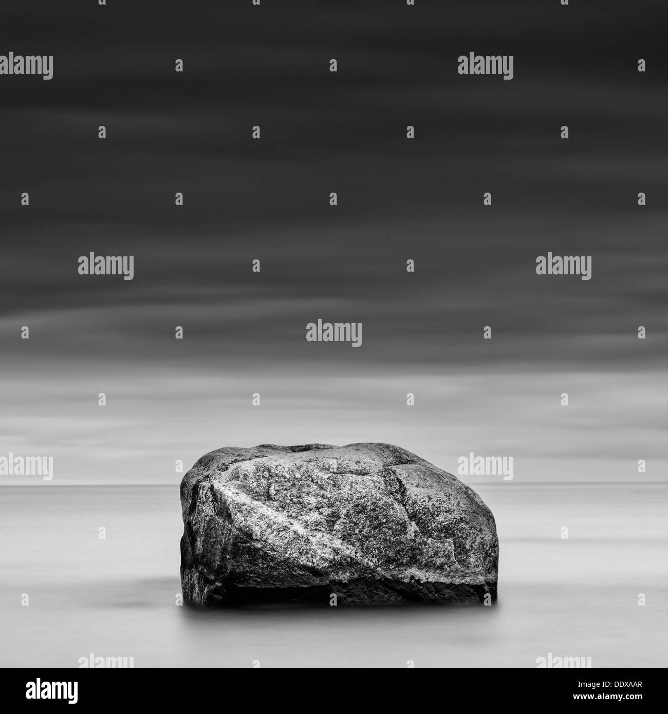 Rock at sea, Rullsand, Uppland, Sweden - Stock Image