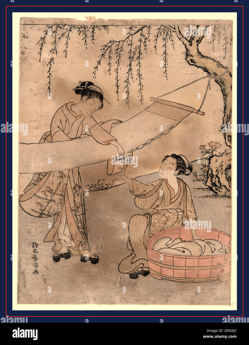 Araihari, Washing and stretching cloth. [between 1767 and 1769], 1 print : woodcut, color ; 27.2 x 20.1 cm., Print shows two - Stock Image