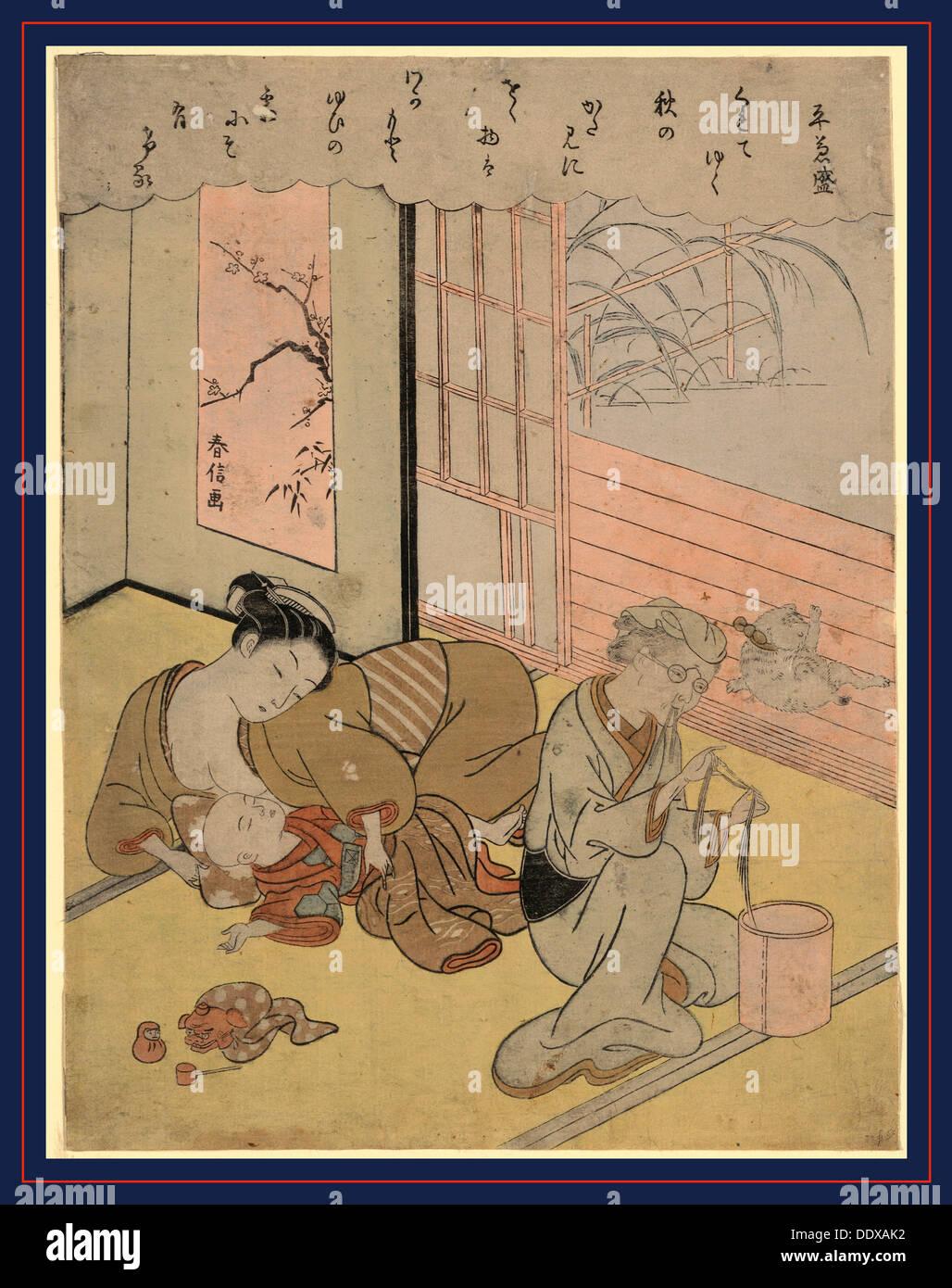 Taira no Kanemori, Suzuki [between 1767 and 1769], 1 print : woodcut, color ; 27 x 20.5 cm., Print shows a mother reclining - Stock Image