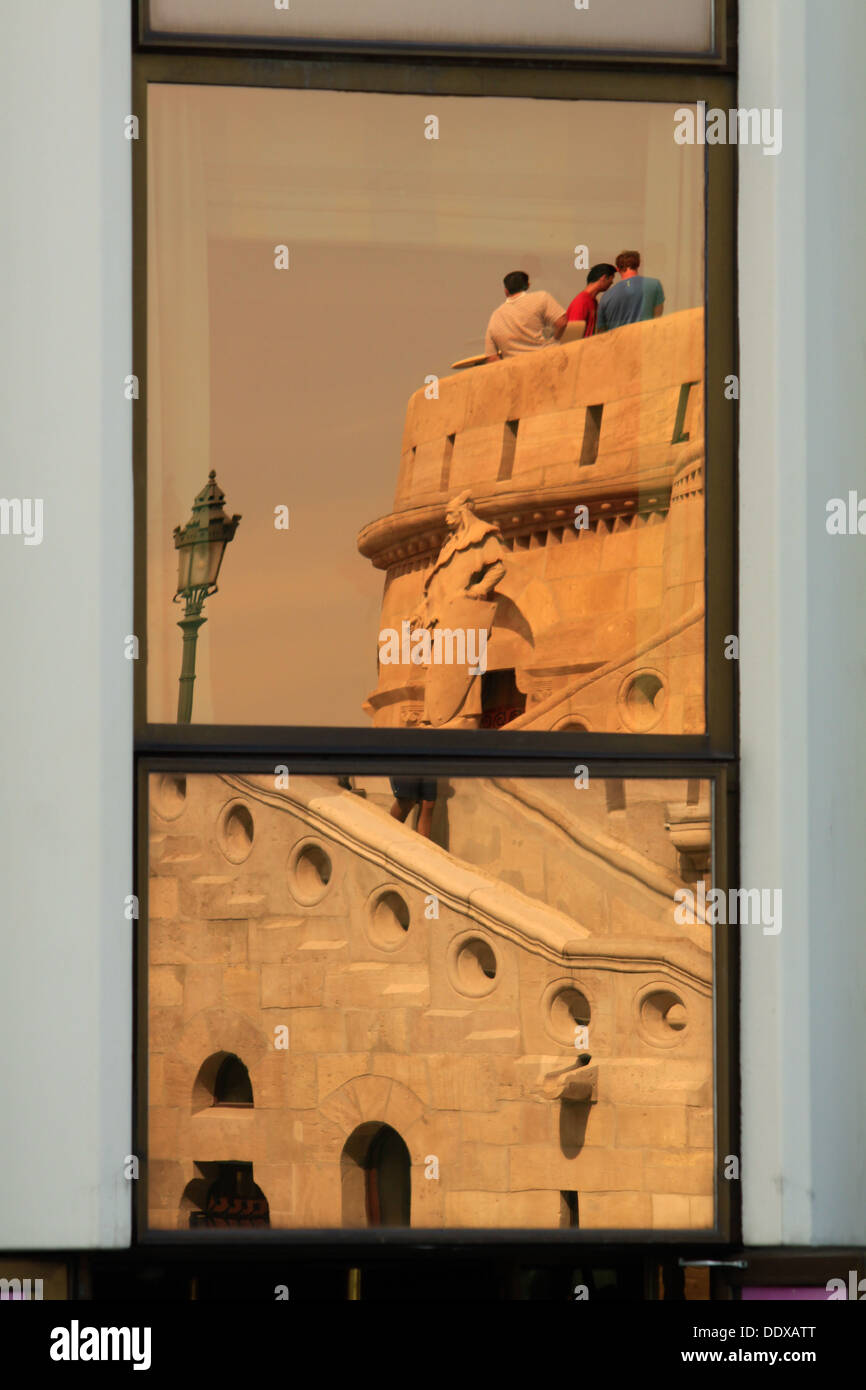 Details of Fisherman's Bastion in Budapest reflected in window - Stock Image