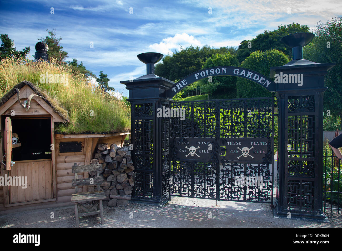 The Poison Garden entrance gates and guard station, Alnwick Gardens, Northumberland - Stock Image