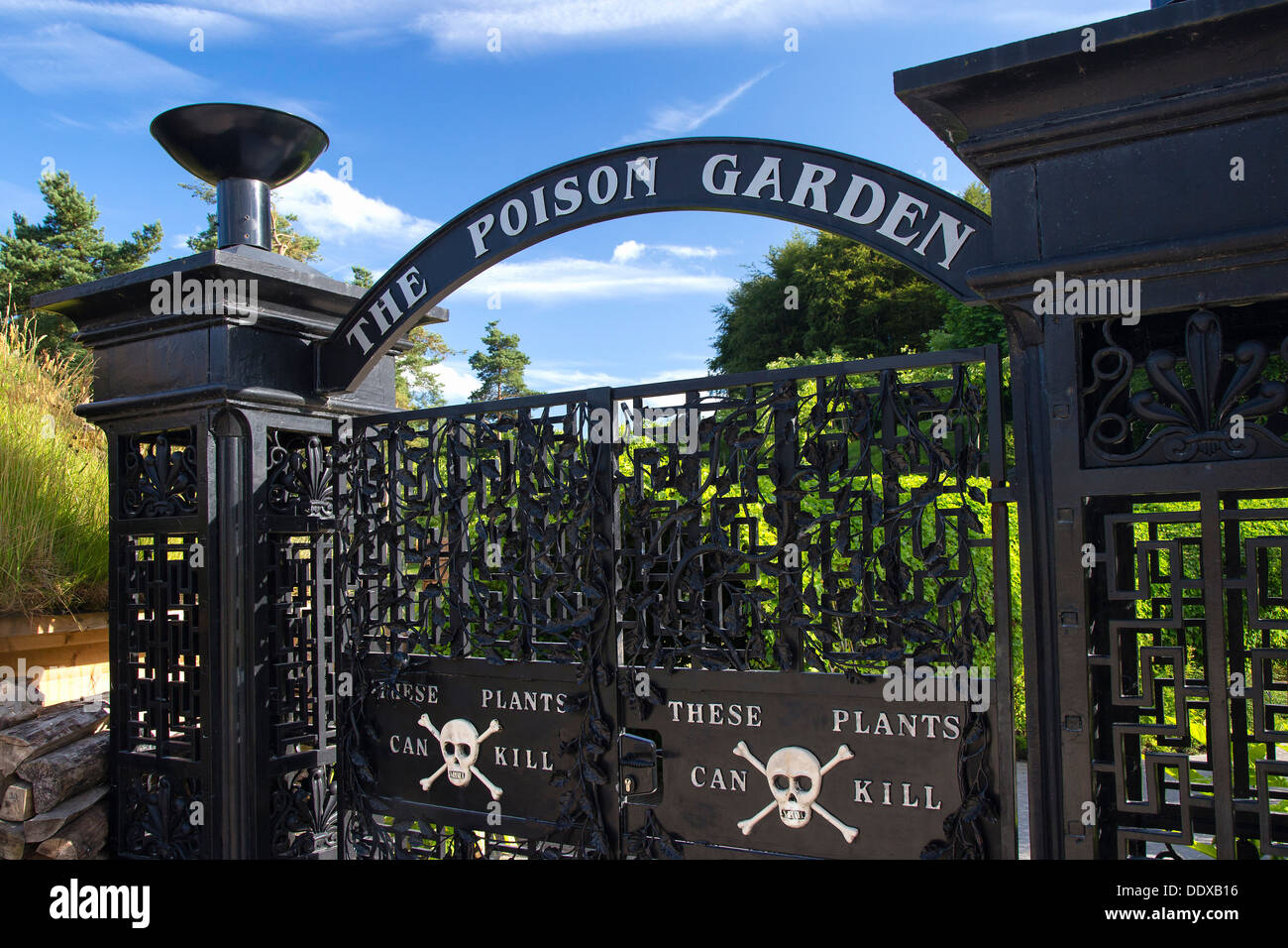 The Poison Garden entrance gates, Alnwick, Northumberland - Stock Image