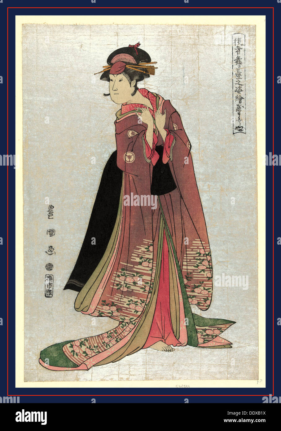 Yamatoya, Utagawa [1794, printed later], 1 print : woodcut, color., Print shows an actor in the role of a woman - Stock Image