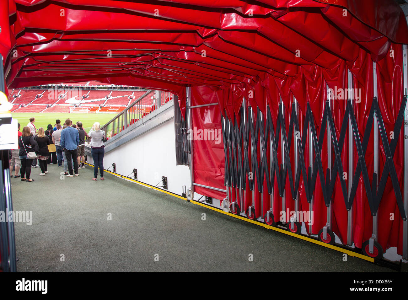 Football tunnel at Old Trafford stadium, Manchester United's home ground, during an Old Trafford Tour. - Stock Image